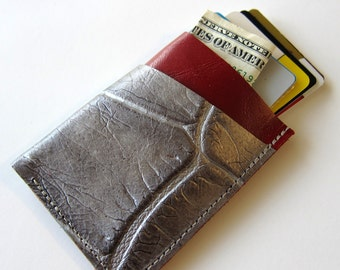 Leather Wallet - 3 Pocket with Stay In Place Attachment - Raw and Rustic - Two Tone Color Leather