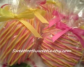 Pink and Yellow Chocolate Covered Oreos Cookies Pink Lemonade Birthday Party Wedding Favors Sweet 16 You Are My Sunshine Baby Shower Favors