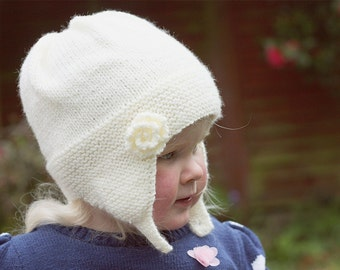 Baby Hat Knitting Pattern, Baby Earflap Hat PDF, Hat Pattern for Girl, Hat with Flower PDF, Girls Hat Pattern, Easy Baby Pattern -CHARLOTTE