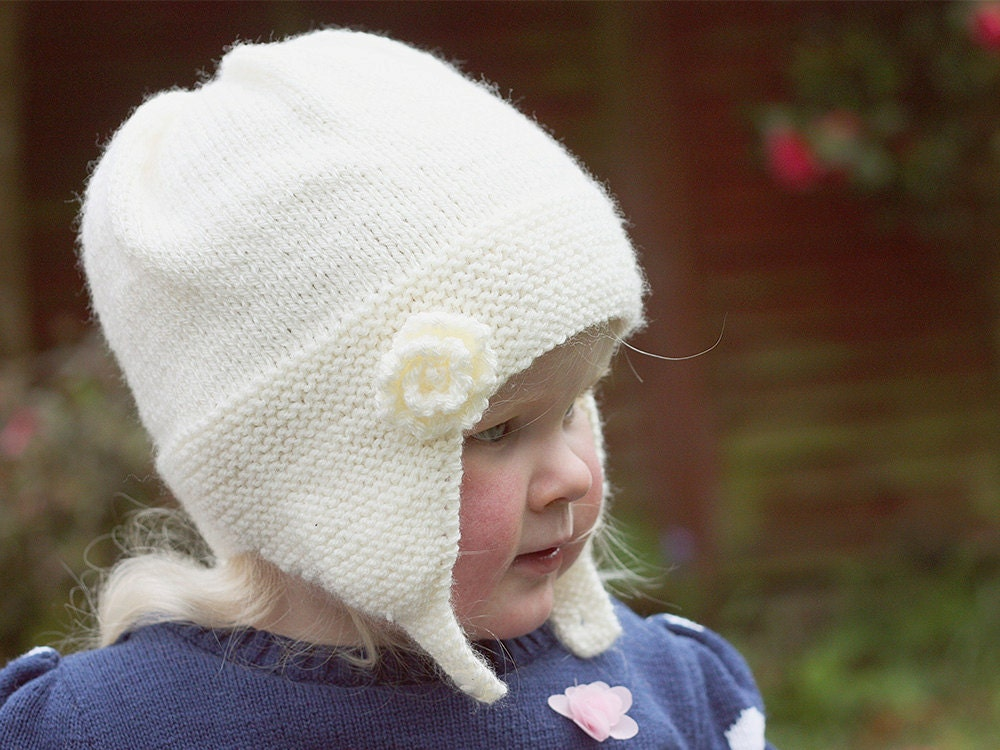 Knitting In The Round Baby Patterns : Baby Hat Knitting Pattern Baby Earflap Hat PDF Hat Pattern