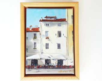 framed oil painting of Italian houses in Lucca, Tuscany