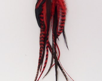 Clip on Hair Extension, Red and Black Feathers, Feather Extension, Long Feathers, Hair Feathers, Feathers, Clip in Feathers, Grizzly Feather