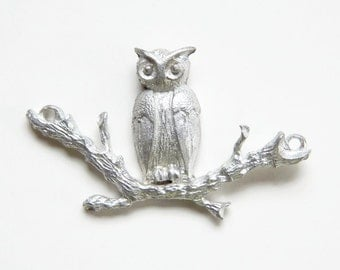 Owl on a branch charm - pendant
