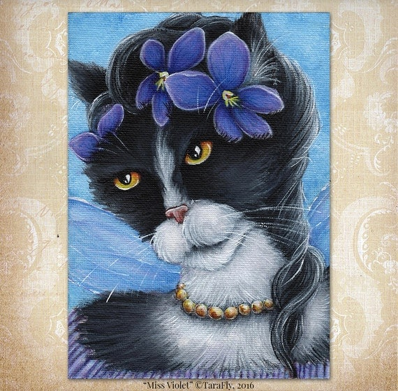 Violet Fairy Cat 5x7 Fine Art Print