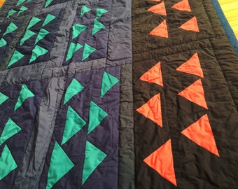 Quilt 68 x 54 Blue Triangles