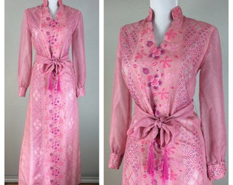 Vintage 1960s Alfred Shaheen Dress Pink Purple Silver Floral Maxi Dress