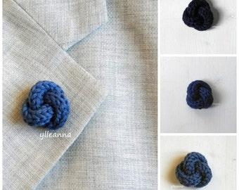 Men lapel pin. Knot lapel button. Wool lapel pin. Blue shades. Boutonniere. Navy blue, blue, denim.