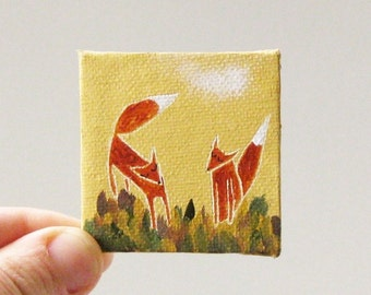 two foxes  / MINIATURE painting on canvas panel
