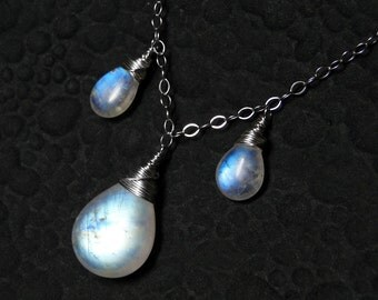 Rainbow Moonstone Necklace, Sterling Silver - Angel's Tears by CircesHouse on Etsy
