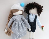 Custom order for Justine Set of 2 dolls rag dolls - plush toy  laia doll and boy made to order
