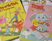 Things to Color and A Day at the Park 2 Vintage 1960s Unused Small Western Publishing Coloring Books