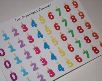 50 Number Candle Stickers for your Erin Condren Life Planner / Scrapbooking