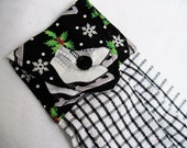Oven door towel button top towel black white ice skates Quiltsy handmade