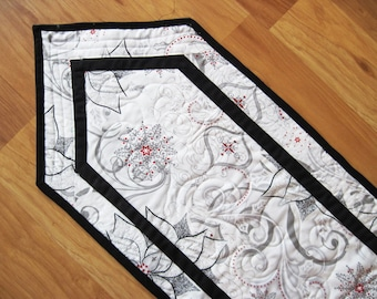 Quilted table runner Holiday Christmas Pewter Poinsettia scroll  Quiltsy Handmade