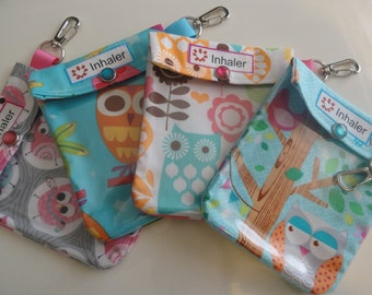 Inhaler or Auvi Q Pouch Clear Front W/ Clip Holds 1-2 Asthma Puffer or Square Epi Medication 4x5 Your Choice Owl Fabric