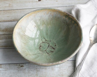 Ceramic Serving Bowl with Dripping Earthy Rustic Green Glazes Stoneware Pottery Made in the USA Ready to Ship