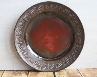 Handmade Dinnerware Side Plate in Earthy Brown and Copper Glaze Rustic Wheel Thrown Pottery Dish Made in the USA Pottery