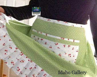 Retro Cherry Apron Cherries and Sage Green with Tiny Polka Dots