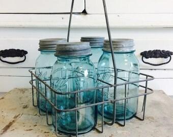 Vintage Aqua Blue Ball Canning Jars in Milk Bottle Tote