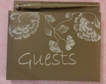 OOAK Hand Painted white Floral Flowers Wedding Bridal Guest Book Taupe with Pen