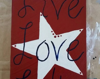 Live Love Lake Patriotic Wood Sign Hand Painted