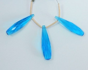 Neon Blue Quartz Elongated Faceted Teardrop Briolette Trio