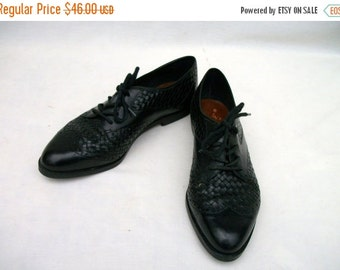 50% Off Sale 80s Woven Leather Oxfords size 6 Nicole Wingtip Broques