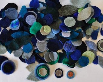 Penny Rug Circles, Hand Cut Wool Felt Circles for Applique, Greens and Blues, Leaf Shapes, Reclaimed Wool Felt, Primitive Wools, Tweeds