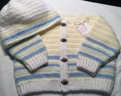 Baby Boy Crocheted Sweater in Yellow and Blue with FOOTBALL Buttons