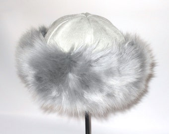 Silver Grey Lamb Cossack Style Hat