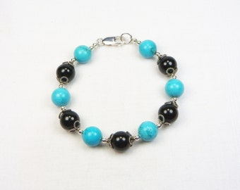 Turquoise and Black Onyx Bracelet - Sterling Silver - Genuine Gemstones - Gift For Her - Bali Silver