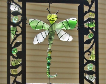 Sea Glass Dragonfly Suncatcher or Ornament with Sea Glass in Shades of Green