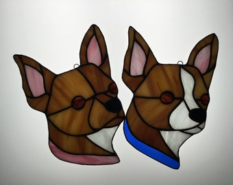Chihuahua Suncatcher in Stained Glass