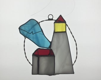 SALE Small Lighthouse Suncatcher in Stained Glass