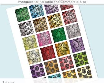 Damask 1x1 Inch Squares and 1.5 Inch Squares Digital Collage Sheet for Glass Resin Pendants Charms JPG Q0011 S0011 1 Inch