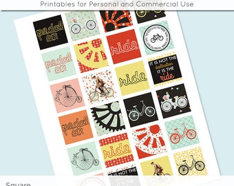 Bike Ride Bicycle 1x1 Inch Squares and 1.5 Inch Squares Digital Collage Sheet for Glass Resin Pendants Charms JPG 1 Inch