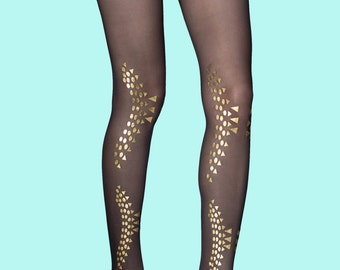 Gold studs Courtney black tights, available in S-M, L-XL, gift for her, gift ideas