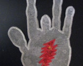 Jerry Hand Lightning Bolt Iron On Patch