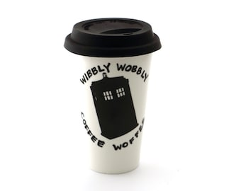 Doctor Who Tardis Travel Mug Double Walled Porcelain, ceramic eco cup with silicon lid, Wibbly Wobbly