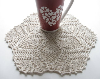 Crocheted Table Mat - Candle Mat Pineapple Doily - Crocheted Doily Beige Neutral Cottage Chic Farmhouse Chic Country Decor Cottage Decor