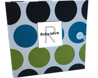 BABY BOOK | Blue and Green Bold Dot Baby Book | Ruby Love Modern Baby Memory Book