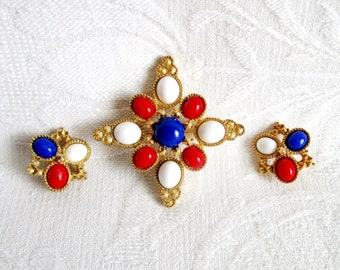 Sarah Coventry Americana Brooch and Clip On Earrings