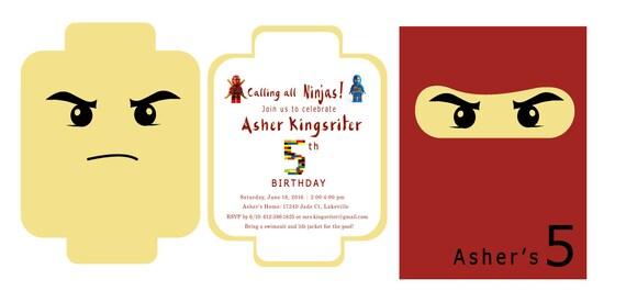 Ninjago Einladung Basteln: Ninja-Lego-Party-Einladung / / Lego-Party-Einladung