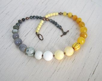 Yellow Gray Beaded Necklace BRIDESMAIDS Jewelry Statement Necklace  Color Block  Ombre Jewelry