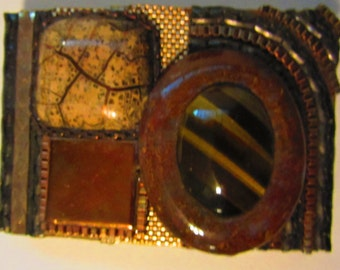 Wendy Gell Vintage belt buckle Earth tones,chain, Tiger eye, porcelain