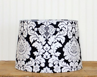 Damask Lamp Shade - Black and White - Lampshade - Lamp Shade - Pendant Shade - Drum Shade - Damask Drum Shade - Cottage Chic