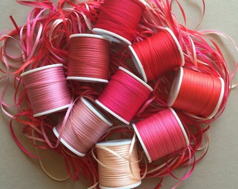 Pink and Red mix - 27 metres of 2mm solid colour silk ribbon
