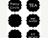 Buy 2 Get 1 FREE- NEW Fancy Circle Chalkboard Labels - Organize and Personalize with CHALK Labels - 12- 2.5 inches