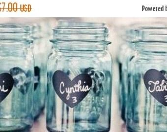 On SALE- Heart Chalkboard Labels - Diy Chalkboard Mason Jars, Place Settings, Wedding Chalkboards, Valentines Day Gifts
