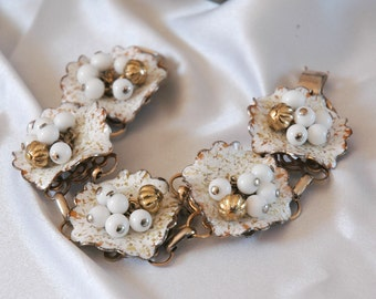 Most Amazing Unsigned Corocraft Bracelet, Mid-Century, Cha-Cha, Confetti Enamel Ruffle Flowers, Milk Glass & Gold Baubles, Excellent Cond
